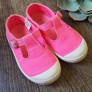 TCP Neon Hot Pink Buckle Sneakers Toddler 8